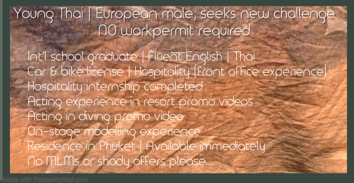 Young European/Thai seeks new opportunity, no workpermit required