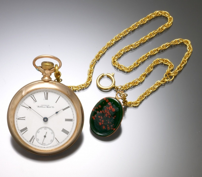 Vintage Pocket Watch With Cameo Chain And Fob