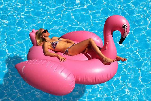 Giant Inflatable Flamingo Ride-On