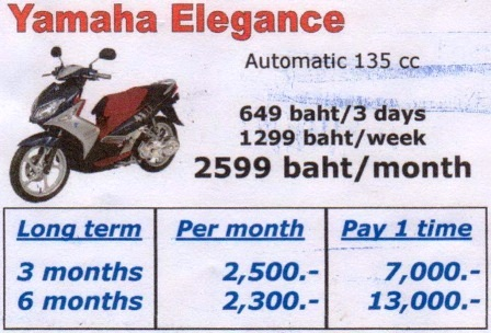 Motorbikes For Rent Pattaya start from 66 baht a day