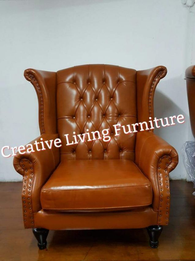 Oil Leather Statement Arm Chair