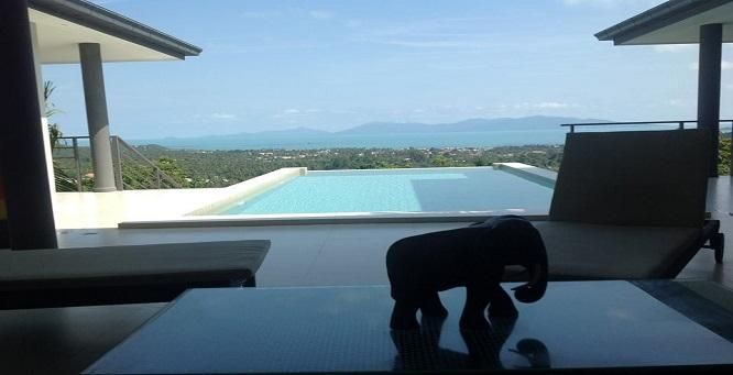 For rent 3 bedroom pool villa sea view Bangrak Koh Samui