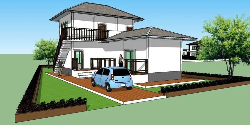 For sale L -shape modern 2 storey house and land.
