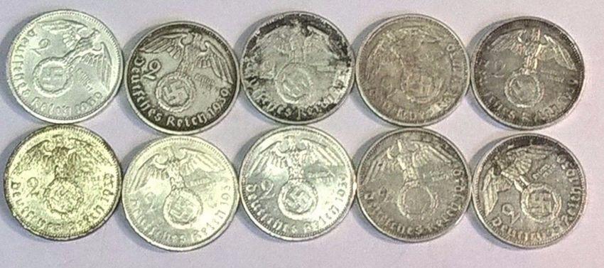 2 REICHSMARK COINS Silber 8 Grams 100% Original !