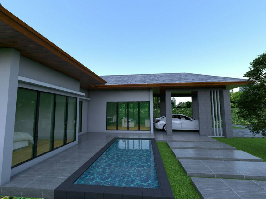 For sale modern style l-shape villa with pool