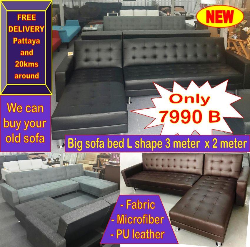 New big sofa bed L shape 3meter x 2meter