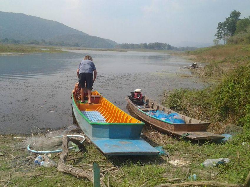 Longtail teak fiber boat 6.5 m