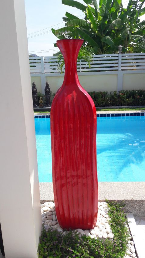 extraordinary giant ceramic vase, chinese red, 155 cm high