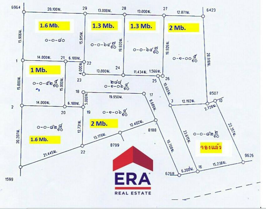 Plots of land for sale in Huy Yai, 1-2M THB per piece