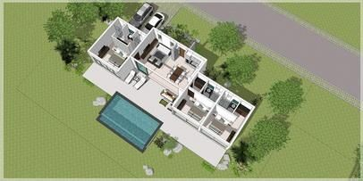 For sale villa on plan Koh Samui 3 to 4 bedrooms pool