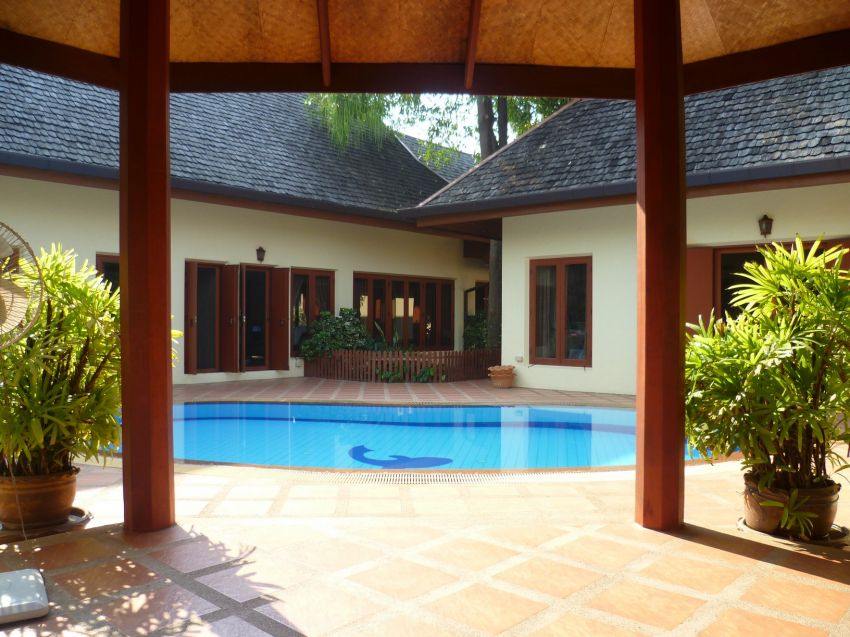 Thai Mediterranean Villa in Chiang Mai, Thailand. 3200+ sqm property. 4 Bedrooms 5 Bathrooms 2 Kitchens 1 Pool. Freehold. Already Subdivided.