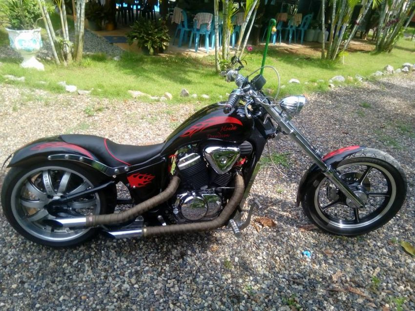 Honda Steed 400 cc, Hardcore Custom Chopper with green Book