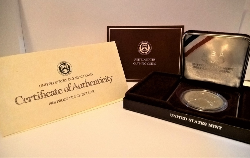 1988 US Olympic Commemorative Silver Dollar, inc. Certificate (2 sets)