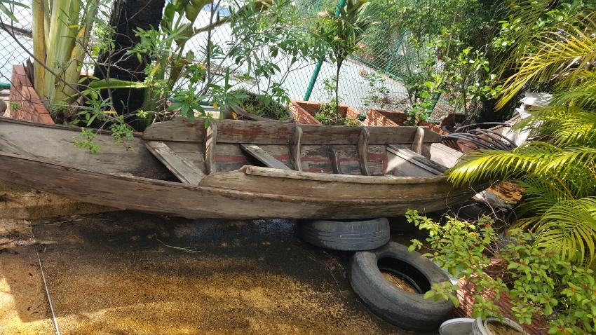 ca. 6 m long teak wood boat for sale