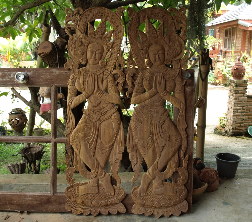 Two Big Traditional Angel Wood Carvings Hand Craft Thailand