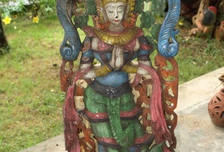 Old Antique Vintage Sculpture Carved Teak Wood Thai Angel Original
