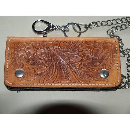 Vintage leather Cowboy/Biker/punk style Wallet/Purse + Long Chain