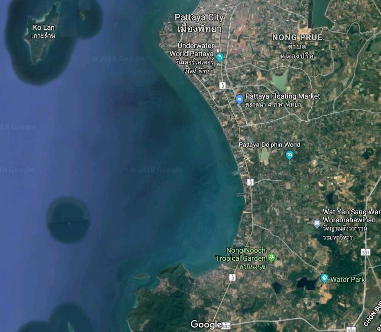 Nr Ban Amphur, Pattaya.  279m Absolute Beach Front - 26 rai