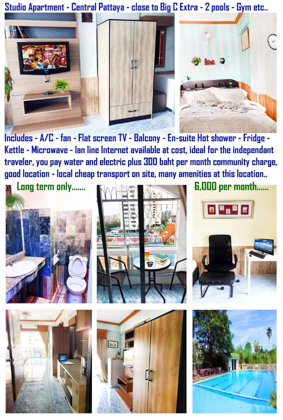 Apartment for Sale or Rent, Central Pattaya, 2 pools.