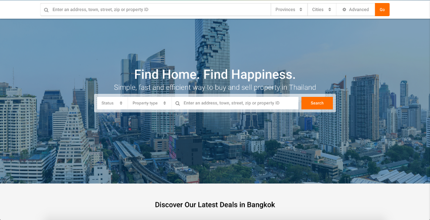 Real estate website for Sale with logo, brand name and Domain Name