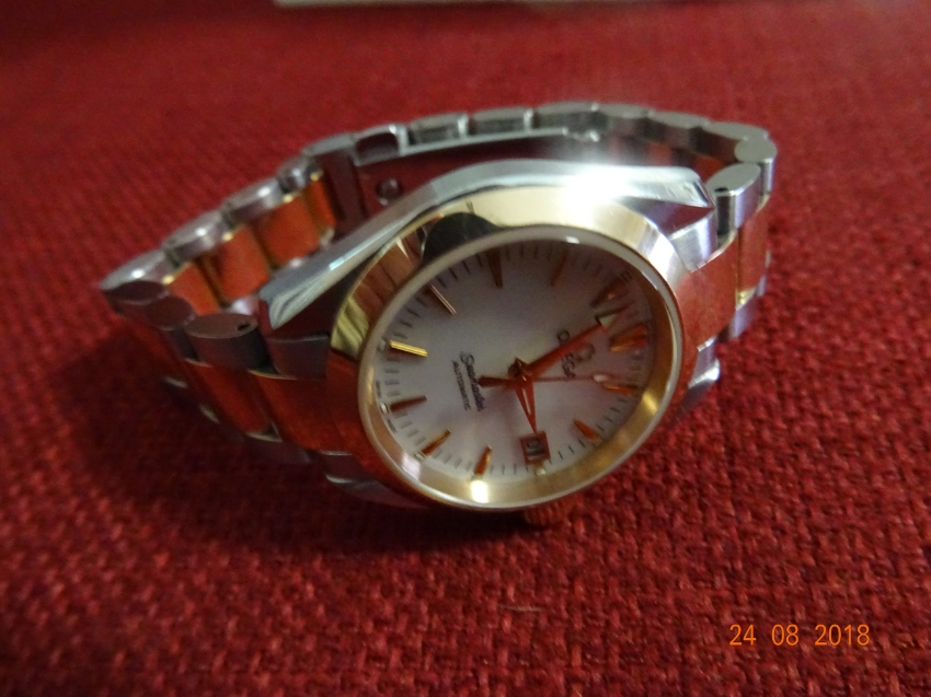 Lady Omega Pink Gold and Stainless Steel