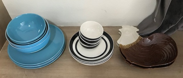 Kitchen Items: Ceramic Bowls, Silverware, Knives, Cleaver, Misc items
