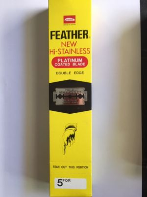 Unopened box of 100 Feather platinum-coated, double-edge razor blades.