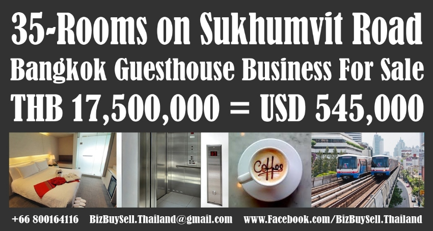 35-Room Top Quality Sukhumvit Guesthouse Business For Sale