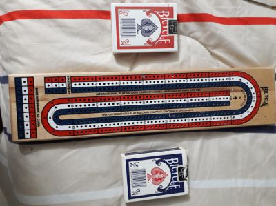 Perfect condition crib board 2 boxes of Bicycle playing cards 1 sealed