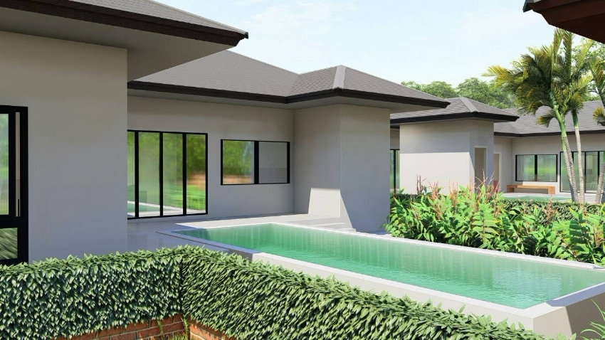 For sale modern European style villa with pool.