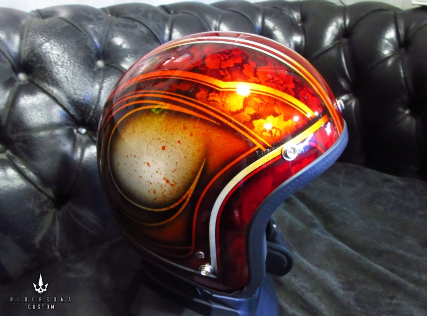 Special edition custom painted open face helmets, metal flake finished