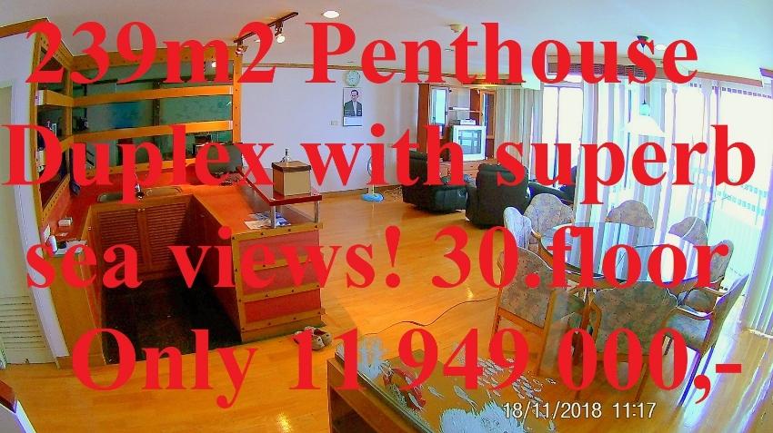 239m2 Penthouse Duplex Condo Sea View Jomtien Plaza Condotel FINANCING