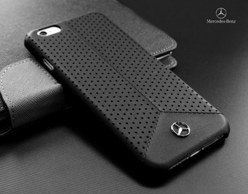 brand new 6e665 e6f82 Mercedes-Benz Perforated Black Leather Hard Case for iPhone 6 Plus ...