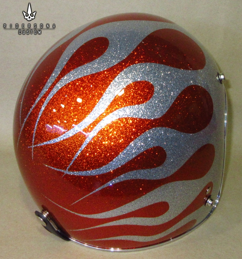 Hand Painted Airbrush 34 Open Face Metal Flake Custom Helmets
