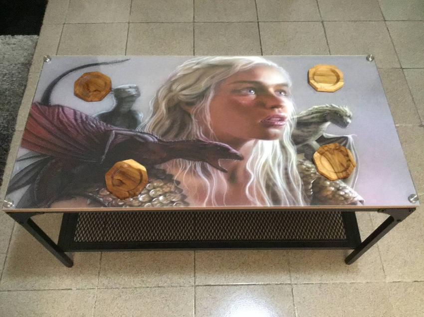 Special Game of Thrones steel Plexiglas coffee table