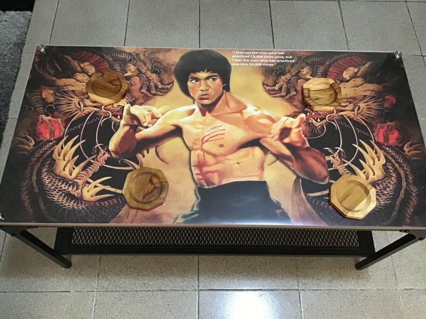 Special Bruce Lee steel Plexiglas coffee table