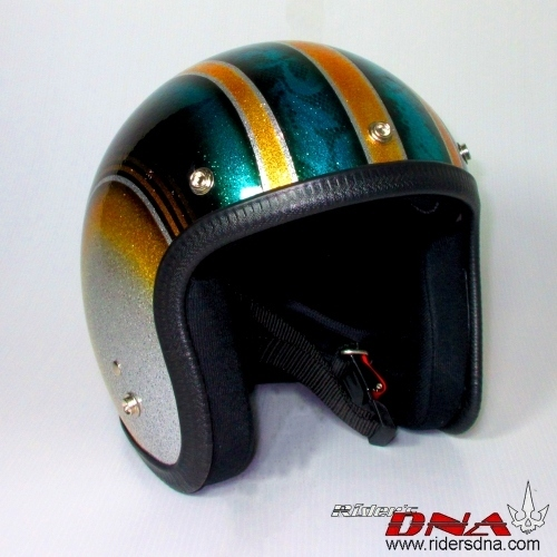 Hand painted Jet helmet classic stripes on flower pattern metal flake