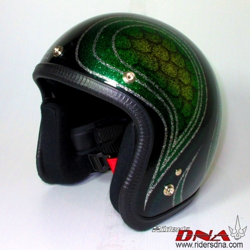 Open face vintage look fish scale helmet metal flake finish