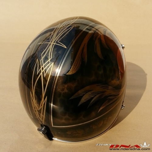 Special design vintage brown 3/4 Jet Helmet hand painted airbrush