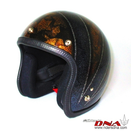 Open face helmet wide straps and fish scale in background metal flake