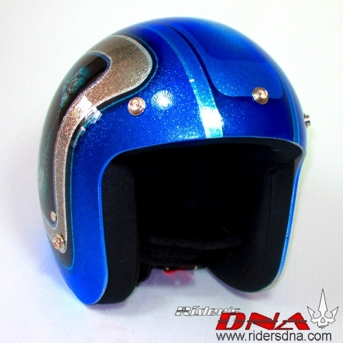 Open face airbrush helmet sea blue metal flake skull pattern on side