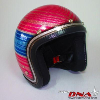 Open face hand painted helmet, Ladies favorite colors metal flake