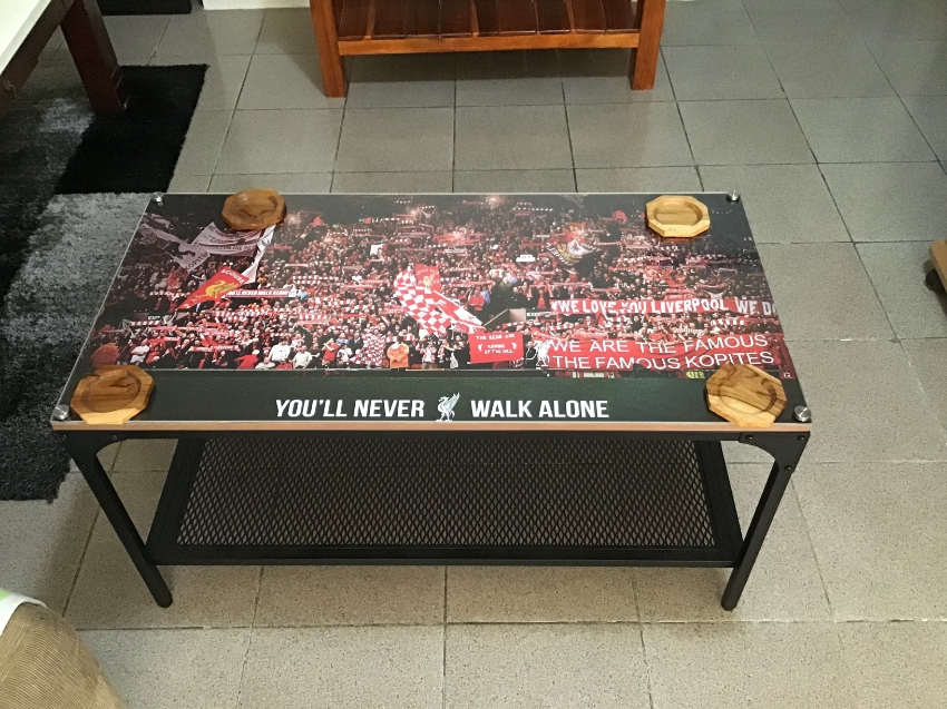 Special Liverpool Football steel Plexiglas coffee table