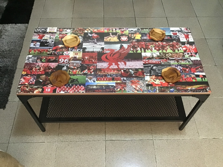 Special Liverpool FC steel Plexiglas coffee table