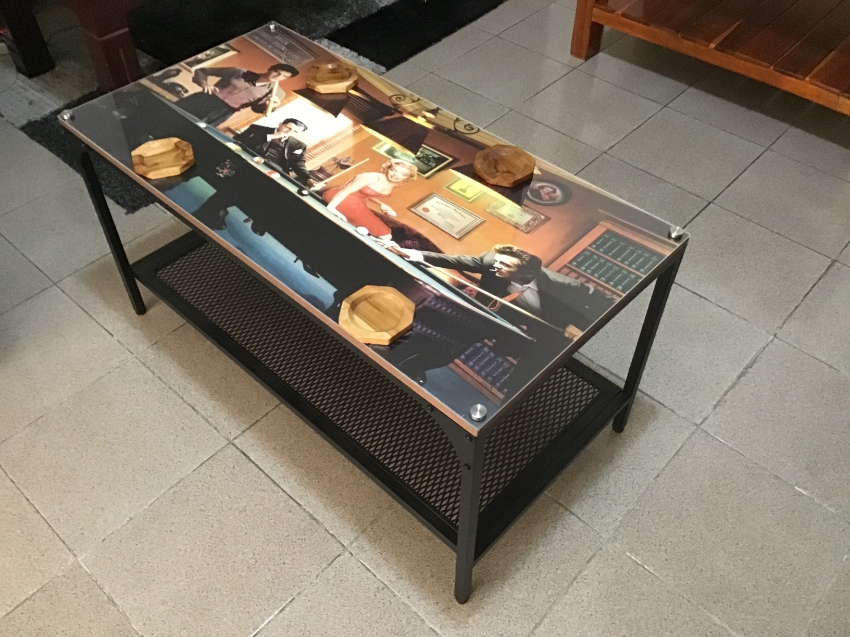 Special Monroe, Elvis, Dean steel Plexiglas coffee table