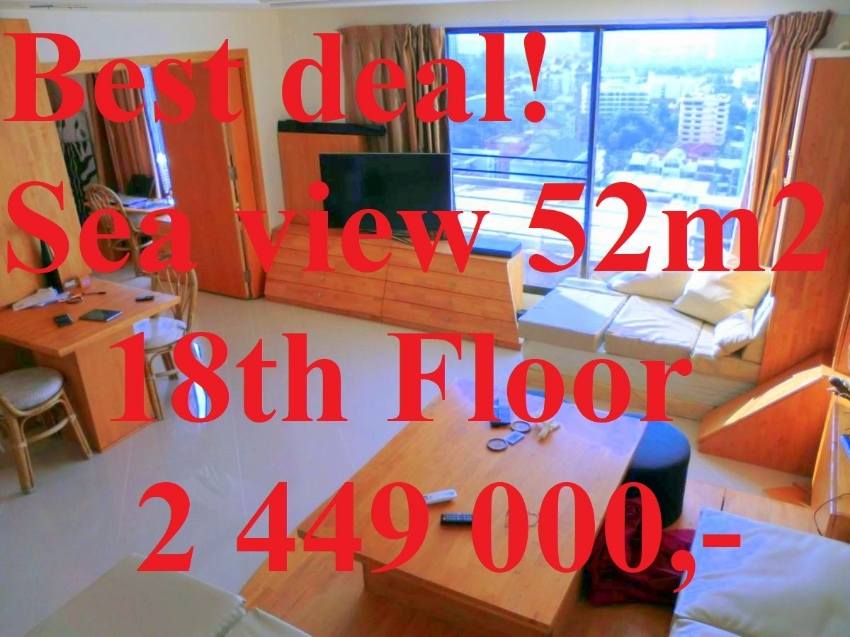 18th Floor Sea view Firesale Pattaya Hill Resort 52m2 Finance