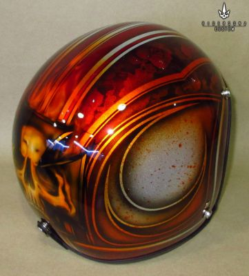 Open Face 3/4 Free Hand Painted Airbrush Skull Pinstripes Helmet