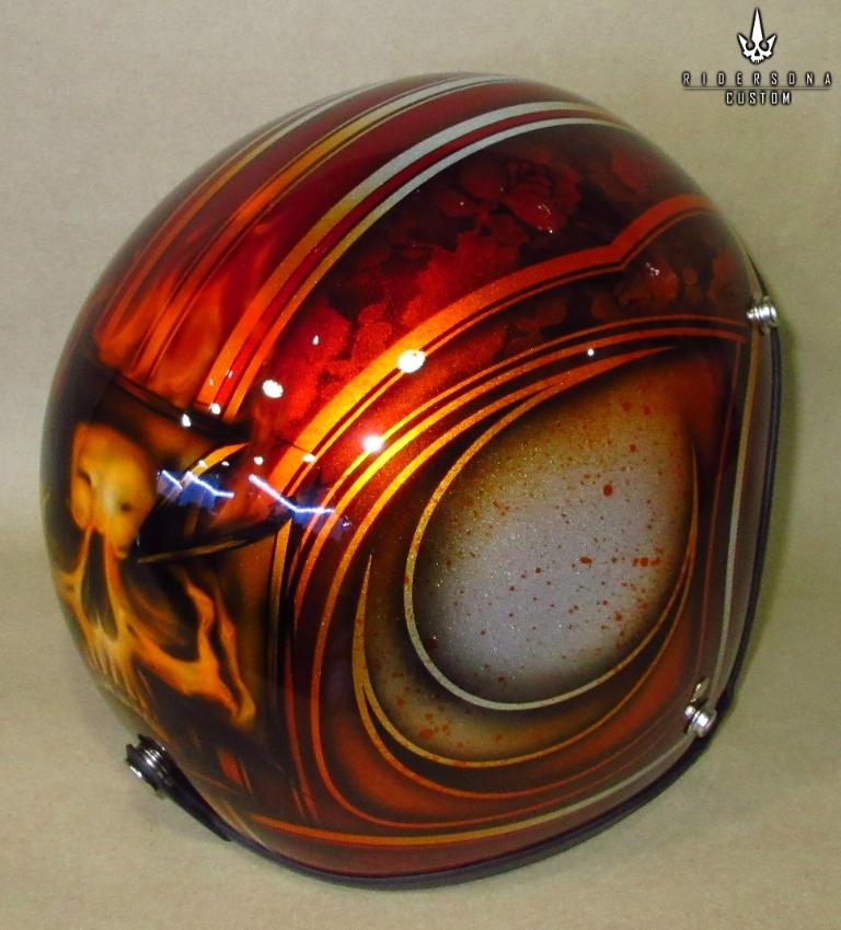 Open Face 3/4 Free Hand Painted Airbrush Skull Pinstripes Helmet