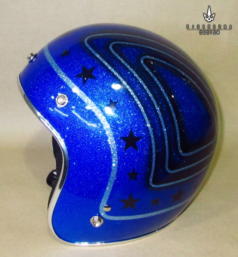 Jet Open Face hand painted Airbrush Blue Metal Flake Low Fit Helmet
