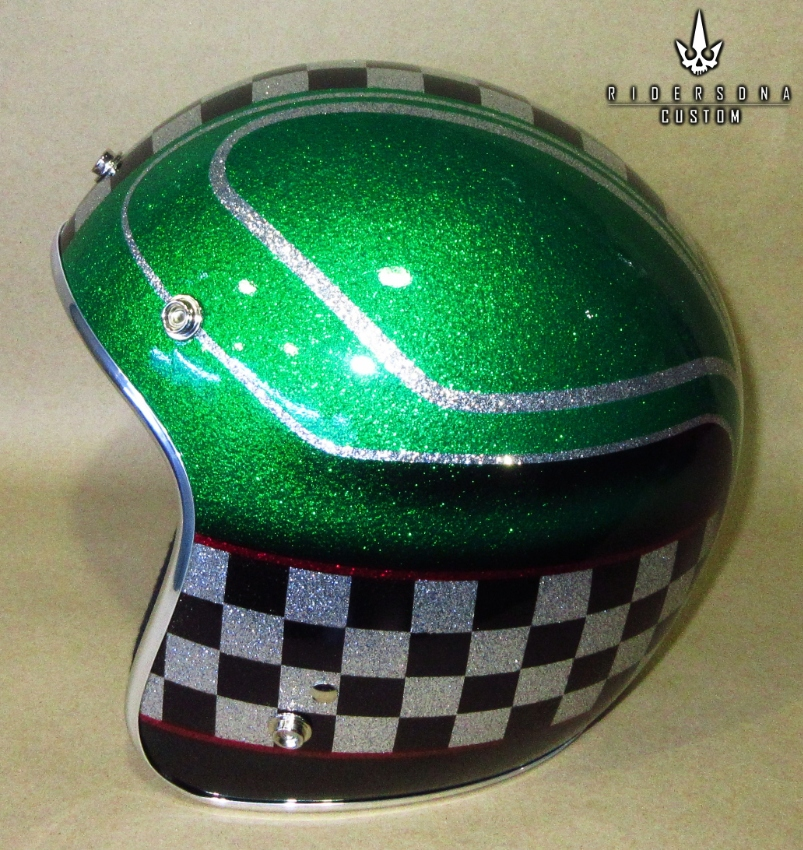 Cafe Racer Jet 34 Hand Painted Airbrush Metal Flake Low Fit Helmet